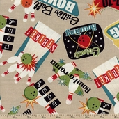 It's A Strike Bowling Collage Cotton Fabric - Grey 05556-77