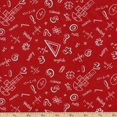 It's Elementary Arithmetic Cotton Fabric - Red 1435-83743-311S