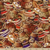 It Takes A Vllage Pottery Cotton Fabric - Brown 112-20431