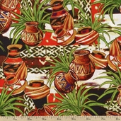 It Takes A Vllage Pottery Cotton Fabric - Multi 112-20421 - Clearance