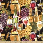 Italian Vineyards Wine Glasses Cotton Fabric