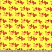 Itty Bitty Caterpillars Cotton Fabric - Yellow
