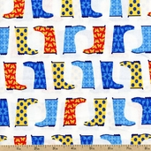 Jack and Jenny Boots Cotton Fabric - Water AWN-12530-246 WATER