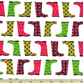 Jack and Jenny Cotton Fabric - Boots - Petal AWN-12530-107 - CLEARANCE
