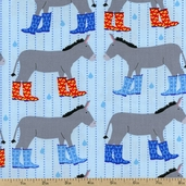 Jack and Jenny Donkey Boots Cotton Fabric - Water AWN-12529-246 WATER