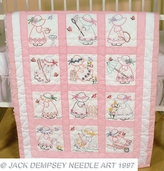 Jack Dempsey 9in. Nursery Quilt Blocks - Girls