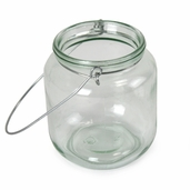 Jar with Wire Hanger 4in - Clear Glass