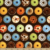 Java Time Donuts Cotton Fabric - Brown