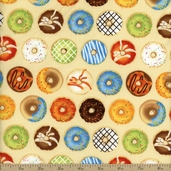 Java Time Donuts Cotton Fabric - Cream