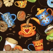 Java Time Toss Cotton Fabric - Brown