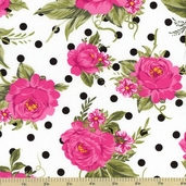 Jessie Steele Cottage Rose Cotton Fabric C9871