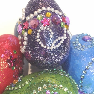 Jeweled Wood Eggs