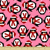 Jingle Cotton Fabric - Penguin Toss - Pink