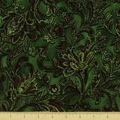 Jinny Beyer Holiday Cotton Fabric - Floral - Green