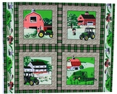 John Deere Cotton Fabric - Farm Scene Pillow Panel- CLEARANCE