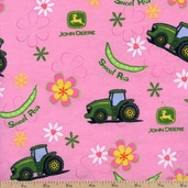 John Deere Sweet Pea Allover Cotton Flannel - Pink 11283 PINK
