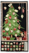 Jolly Christmas Advent Calendar Panel Cotton Fabric