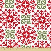 Joy Cotton Fabric - Snowflakes - Berry Red