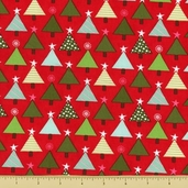 Joy Cotton Fabric - Tannenbaum - Berry Red