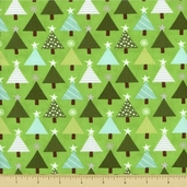 Joy Cotton Fabric - Tannenbaum - Holly Green