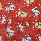 Joy, Love, Peace, Noel Cotton Fabric - Red