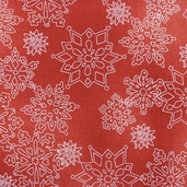 Joy, Love, Peace, Noel Cotton Fabric - Red Snowflakes