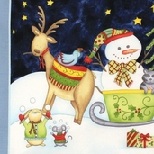 Joy, Love, Peace, Noel Cotton Fabric - Snowman Panel