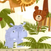 Jungle Animals Flannel Fabric - Cream CF9935