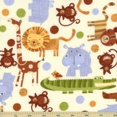 Jungle Animals Flannel Fabric - Cream CF9936