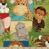 Jungle Babies Collage Cotton Fabric - Green