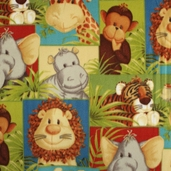 Jungle Babies Fleece Polyester Fabric - Multi F692-E