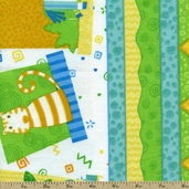 Jungle Buddies Animal Stripe Flannel Fabric - Blue
