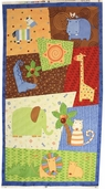 Jungle Buddies Cotton Fabric Panel - Multi