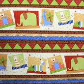 Jungle Buddies Cotton Fabric - Stripe Multi