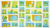 Jungle Buddies Panel Flannel Fabric - Multi 1831-1927-148W