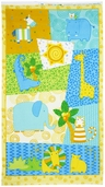 Jungle Buddies Panel Flannel Fabric - Yellow