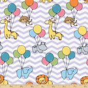 Jungle Chevron Balloon Cotton Fabric - Lavender