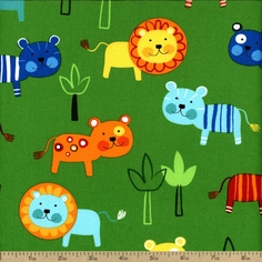 Jungle Creatures Little Lion Cotton Fabric - Bright