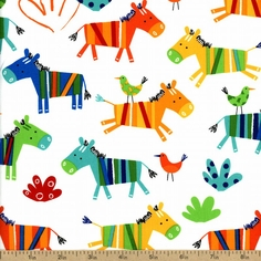 Jungle Creatures Zebra Toss Cotton Fabric - Bright