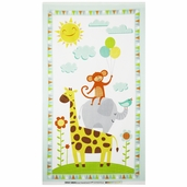 Jungle Jubilee Animals Panel Flannel Fabric - White
