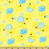 Just Ducky Duck Soap Cotton Flannel Fabric - Yellow