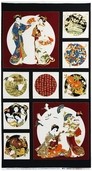 Kabuki Geisha Cotton Fabric Panel - Black