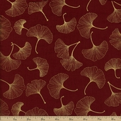 Kabuki Leaves Cotton Fabric - Red