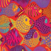 Kaffe Fassett Collective Shoal Fish Cotton Fabric - Tomato Red