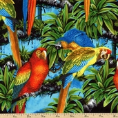 Kanvas Studio Buried Treasure Parrot Cotton Fabric - Turquoise 05576