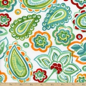 Kassita Paisley Cotton Fabric - White