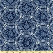Kasuri Medallions Cotton Fabric Indigo