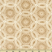 Kasuri Medallions Cotton Fabric - Natural - CLEARANCE