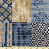 Kasuri Oriental Cotton Fabric - Dark Blue