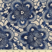 Kasuri Sakura Cotton Fabric - Indigo